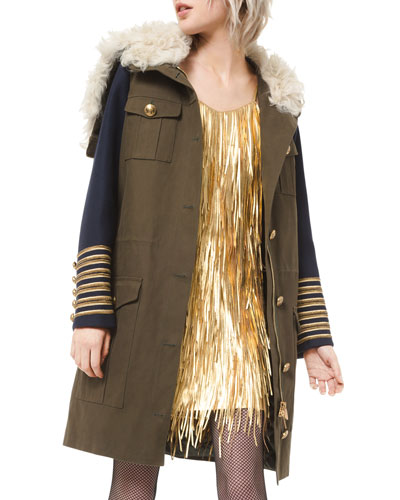Embroidered Military Anorak Coat