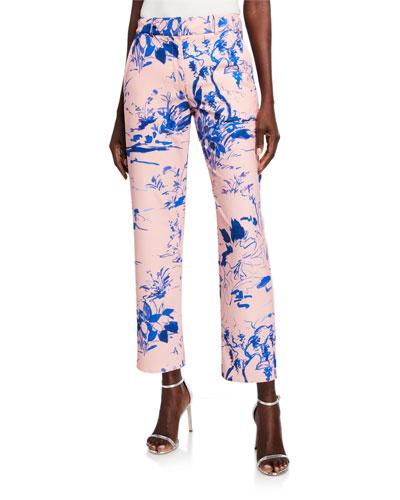 Watercolor Floral Crop Pants