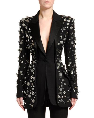 Button-Embellished Fitted Blazer Jacket