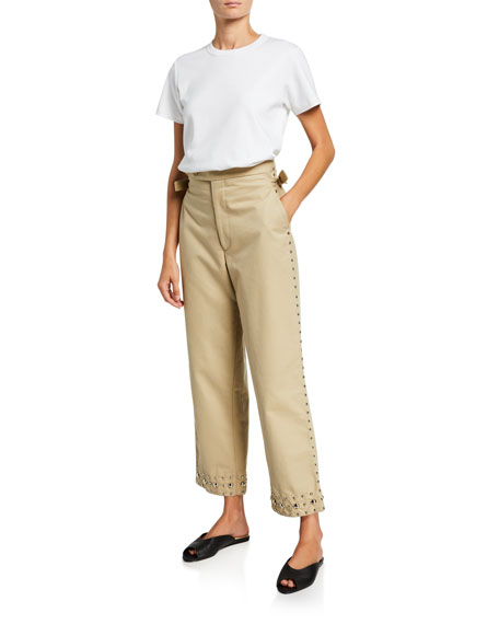 Studded Khaki Side-Tie Trousers