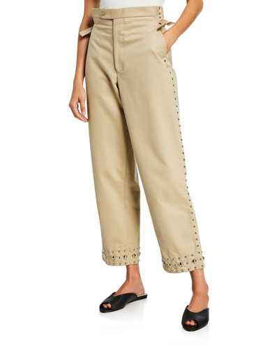 Studded Khaki Side-Tie Trousers