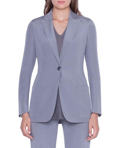 Amandine One-Button Silk Jacket