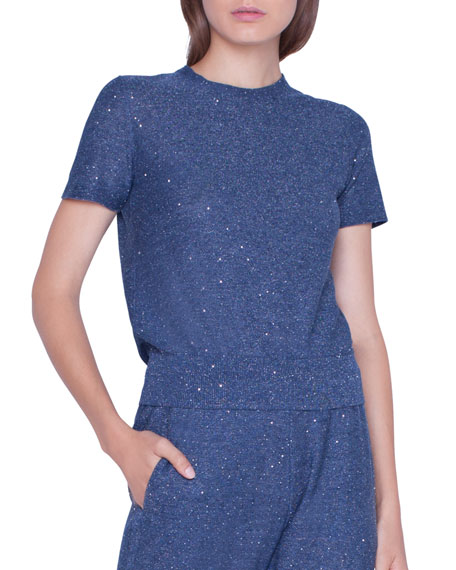 Shimmer  Sequined Short-Sleeve Sweater