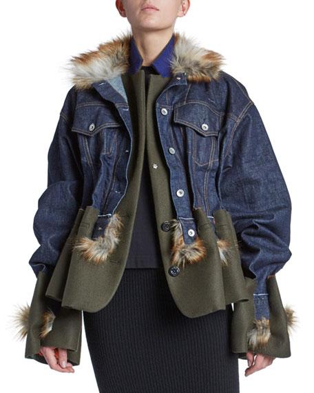 Oversized Denim & Melton Jacket with Faux-Fur Trim