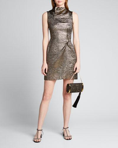 Metallic Funnel-Neck Mini Dress