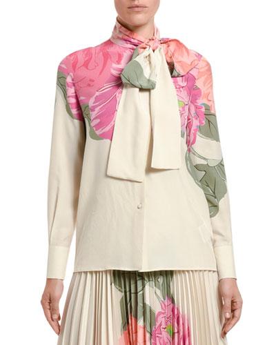 Floral-Print Bow-Neck Blouse