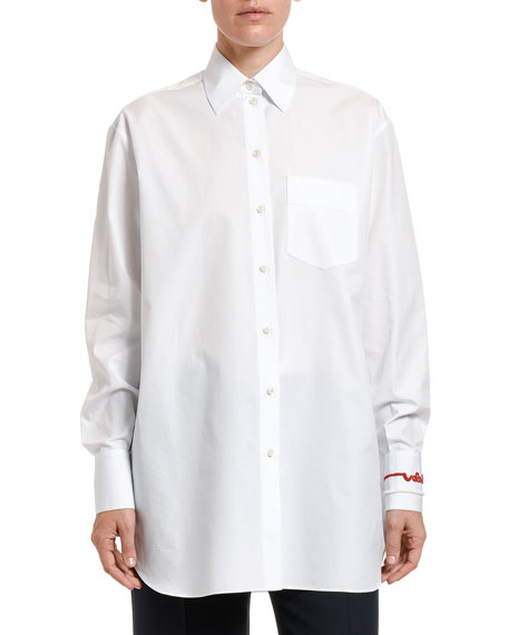 Embroidered Cotton Button-Front Shirt
