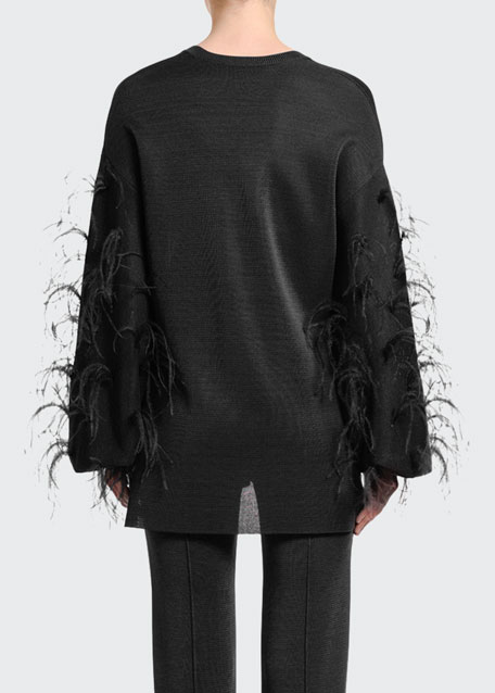 Feather-Sleeve V-Neck Sweater