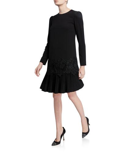 Lace-Trim Pleated-Hem Tunic Dress
