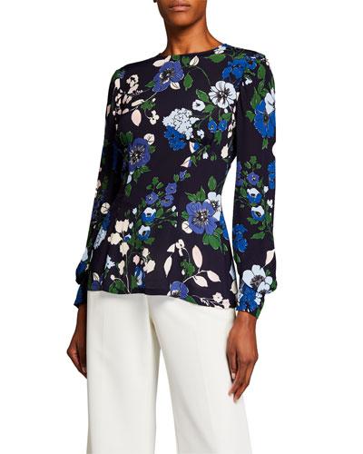 Floral-Print Crepe Full-Sleeve Top