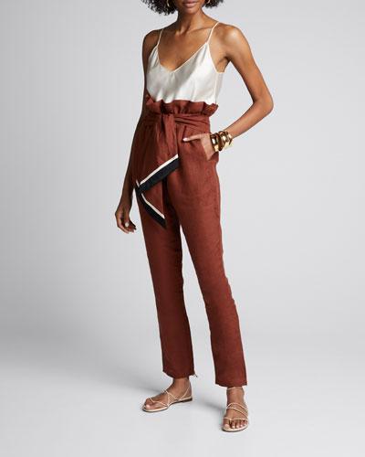 Ambiance Linen Tie-Waist Crop Pants