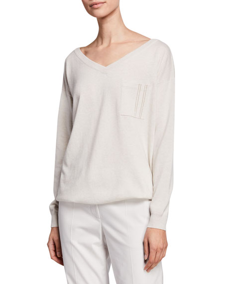 Image 1 of 1: Cashmere Monili-Pocket Sweater