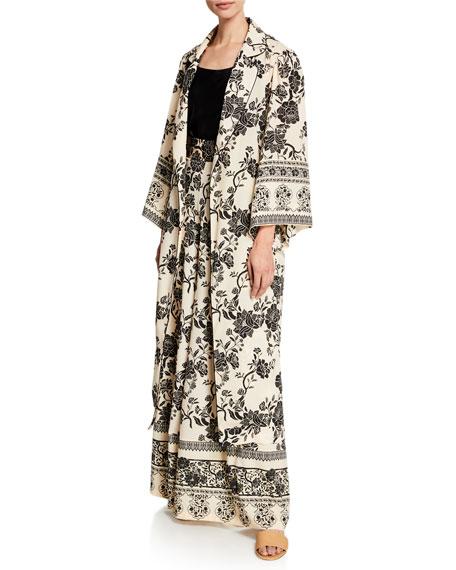 Floral Print Long-Sleeve Kimono Top