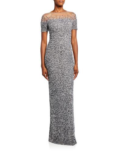 Snow-Leopard Crunchy Sequined Dress