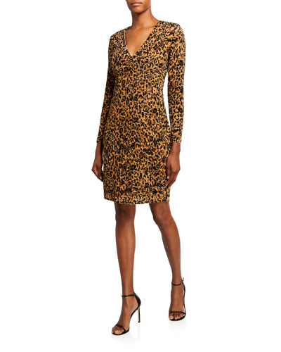 Leopard Print Crunchy Sequined Dress