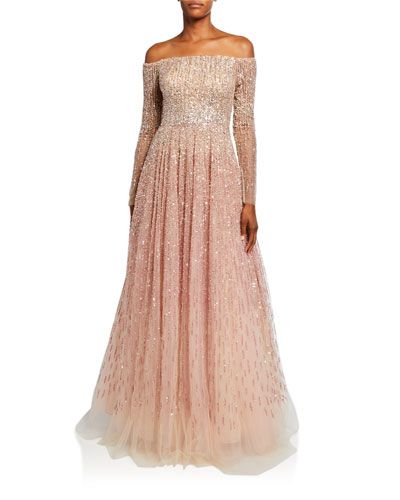 Sequin & Crystal Ombre Ball Gown