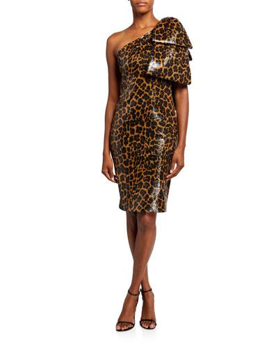Sequined One-Shoulder Cocktail Dress