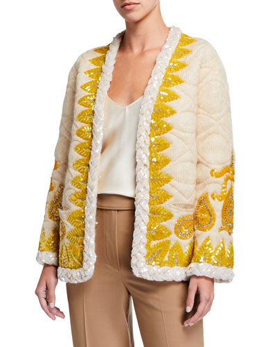 Embroidered Mohair Evening Jacket