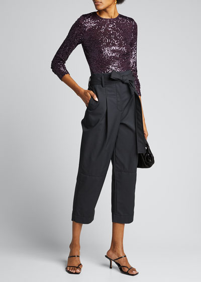 Long-Sleeve Sequined Top