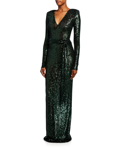 Long-Sleeve Sequined V-Neck Column Gown