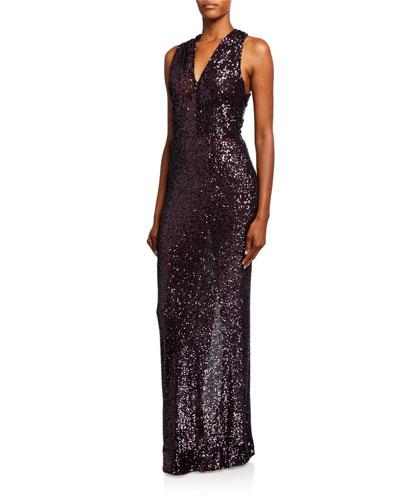 Sequined Sleeveless Crisscross-Back Column Gown  Amethyst