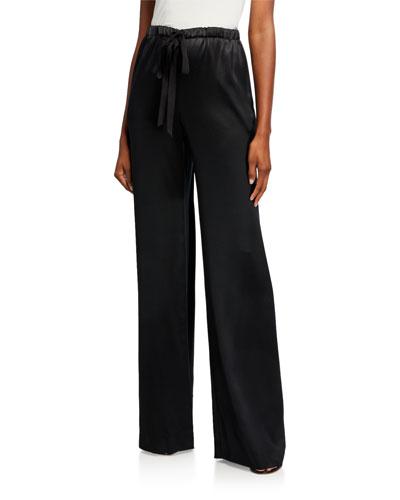 Silk Satin Drawstring Pants