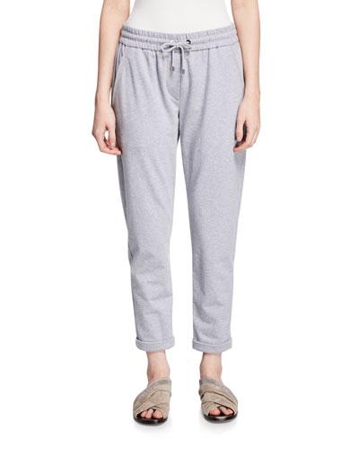 Heathered Spa Jogger Sweatpants with Monili-Pocket