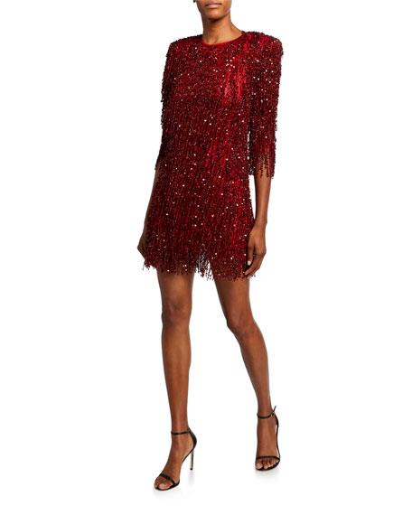 Beaded-Fringe Cocktail Dress