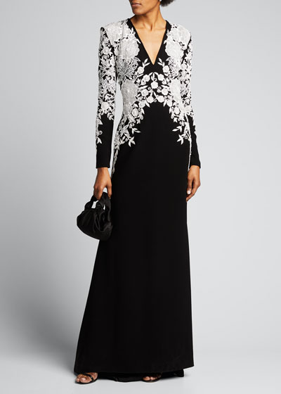 Long-Sleeve Embroidered Fit-and-Flare Gown