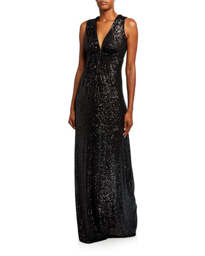 Sequined Cinched-Waist Gown