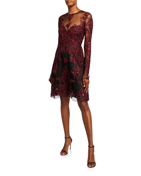 Embroidered Illusion Cocktail Dress