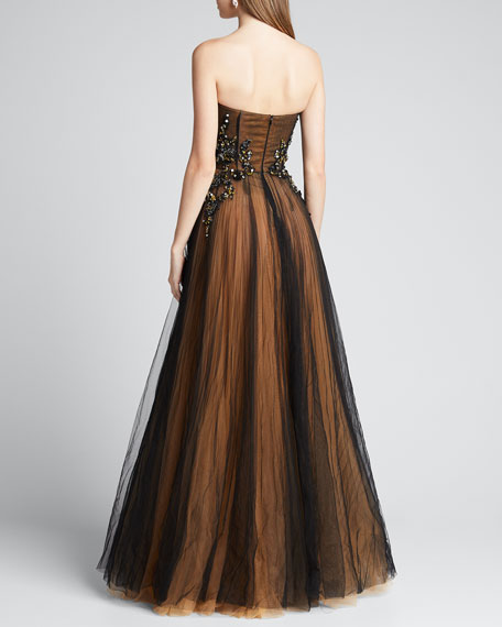 Strapless Embroidered Gown with Marigold Underlay