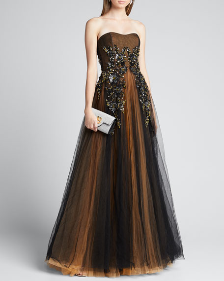 Image 1 of 1: Strapless Embroidered Gown with Marigold Underlay
