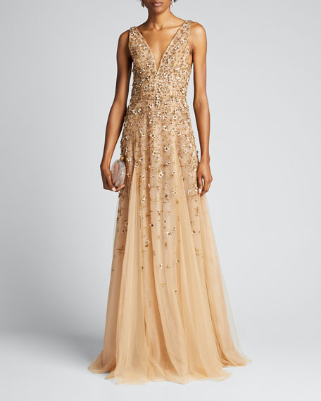 Embroidered-Tulle Sleeveless Gown