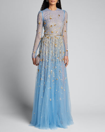 Golden-Embroidered Long-Sleeve Tulle Gown