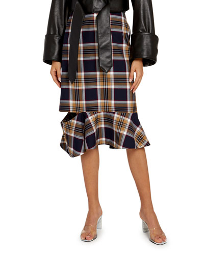 Multi-Check Frilled Drop Skirt