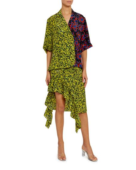 Multi-Floral Cotton Tie-Neck Blouse