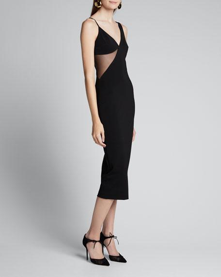 Tulle-Trim Body-Con Dress