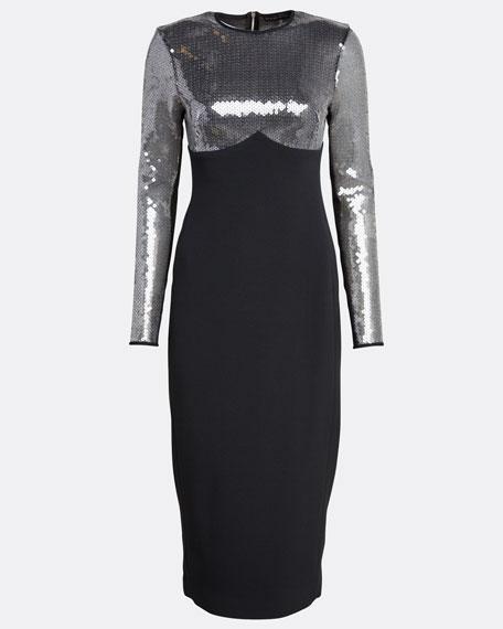 Cady Sequined-Sleeve Dress
