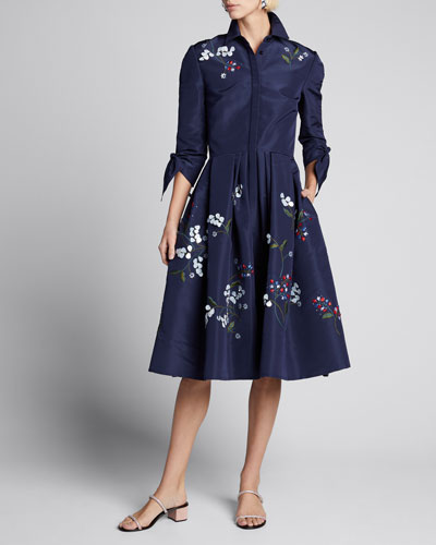 Floral Embroidered Tie-Sleeve Shirtdress