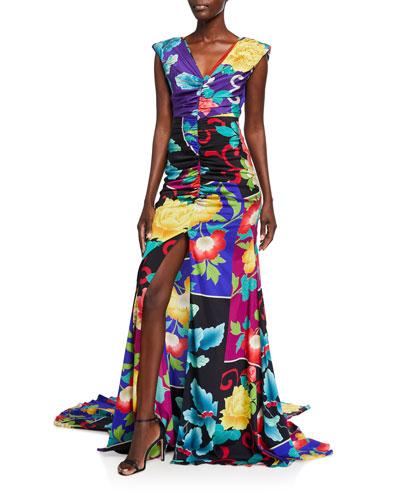 Floral Patchwork Stretch Silk Gown