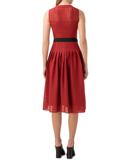 Grid Lace Button-Front A-Line Dress