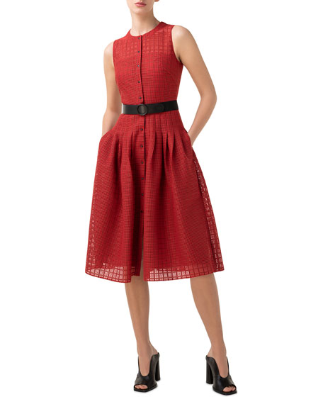 Image 1 of 1: Grid Lace Button-Front A-Line Dress