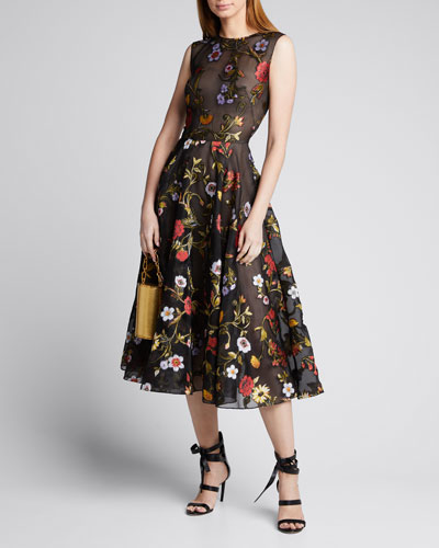Sleeveless Ikat Floral Embroidered Tulle Day Dress