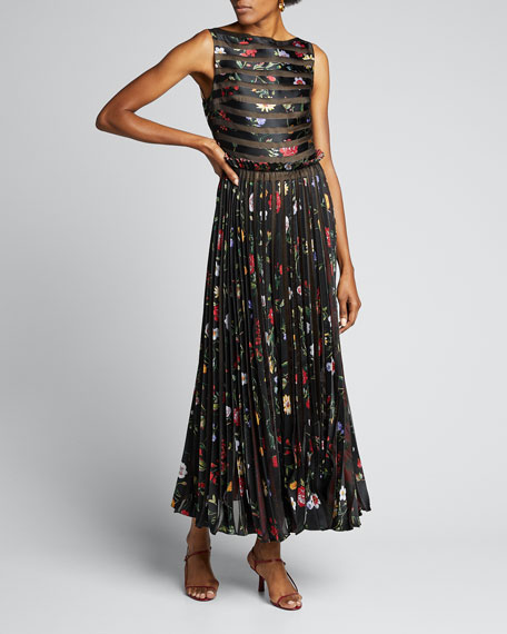 Floral Striped Pleated Gown