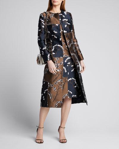 Floral Patchwork-Taffeta Coat