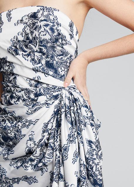 Floral Strapless Gathered Mini Dress
