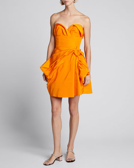Strapless Sweetheart Bowed Silk Mini Dress