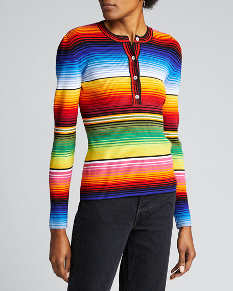 Striped Jersey Henley Sweater