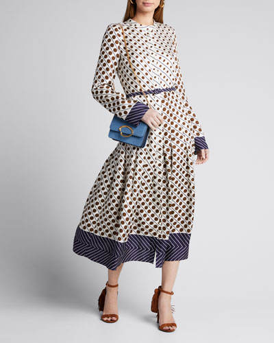 Polka Dot Long-Sleeve Belted Silk Midi Dress